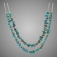 Sale! Vintage Sterling Silver 24-Inch Natural Turquoise Gemstone Necklace
