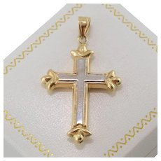 14K YG & WG | Cross Pendant - Red Tag Sale Item