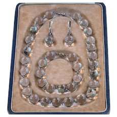 1890-1910 Pools of Light   Repousse Floral Band   Parure of Necklace Bracelet and Earrings   Original Box