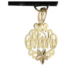 'Best Grandma' 14K Yellow Charm