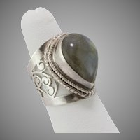 FINAL MARKDOWN! Sterling Silver Labradorite Ring Size 6-1/2