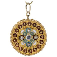 SALE | 15K Victorian Etruscan Sapphire and Seed Pearl Enamel Pendant