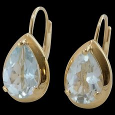 14K Yellow Gold | Aquamarine Hinged Back Earrings