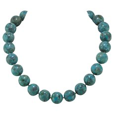 SALE - GORGEOUS! 16mm Turquoise Bead Necklace | Sterling Silver