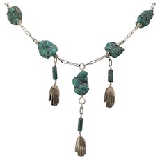 Sterling Silver   21-1/2 Inch Natural Turquoise Nugget Necklace