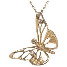 14K Yellow Gold | Diamond Butterfly Pendant | 20-Inch 14K Chain