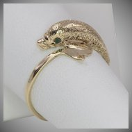 10K Yellow Gold   Textured Dolphin Ring   Size 7