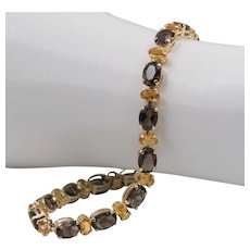 REDUCED | Beautiful 14K Yellow Gold | Natural Smoky Quartz & Natural Citrine | Line Bracelet  7-5/8 Inches