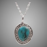 Sterling Silver Turquoise Pendant | 18-Inch Sterling Silver Chain
