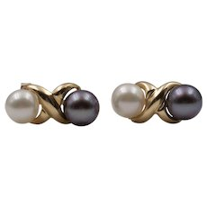 Stunning 14K Yellow Gold | Black & White | Akoya Saltwater Cultured Pearl Earrings