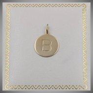 "14K YG | Circular Initial ""B"" Pendant/Charm"
