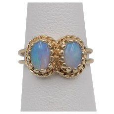 On Sale | 14K YG | Vintage | Double Opal Ring