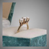 14K Yellow Gold, Antique, Natural Pearls, Trilogy Ring, Size 5-1/4