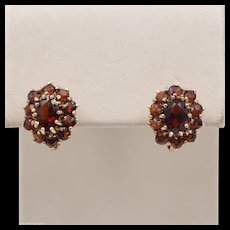 14K YG | Garnet Cluster | Russian Style | Lever Back Earrings