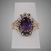Dated 22/27 14K Rose Gold Amethyst & Seed Pearl Ring  Size 6-1/2