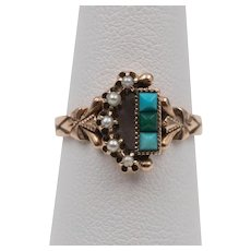 Victorian 14K Rose Gold   Persian Turquoise & Seed Pearl Ring