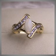 14K YG Tanzanite and Australian White Opal | Bypass Ring | Size 7-1/4