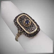 18K YG with Sterling Silver Filigree Sapphire Ring Deco  Size 6