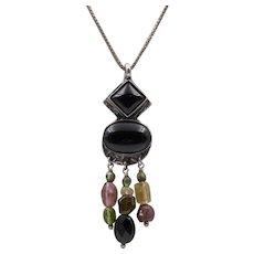 Vintage | Sterling Silver & Black Onyx | Semi-Precious Gemstone Pendant with Chain