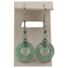 Sterling Silver | Green Quartz Dangle Earrings 2-1/4 Inches