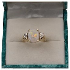 On Sale | Stunning | Fiery Australian Opal Ring with Diamonds | Size 6-3/4