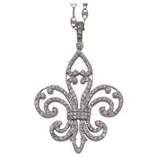 1.95 CTW | Diamond Fleur-de-lis Pendant | 14K WG