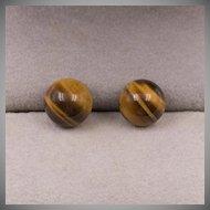 14K YG | 9.5mm Tiger's Eye Stud Earrings