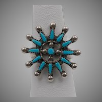 Zuni Sterling Silver Zuni Petit Point Turquoise Ring Vintage Size 6-3/4