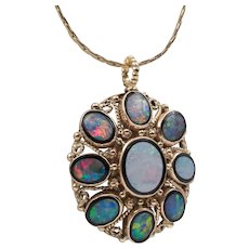 Beautiful Vintage | Opal Doublet & Black Onyx Pendant | Upcycled