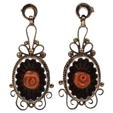 FINAL MARKDOWN!  Mid-Victorian Antique Coral Earrings  8ct Gold