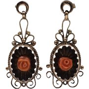 On Sale | Mid-Victorian | Antique Coral Earrings | 8ct Gold