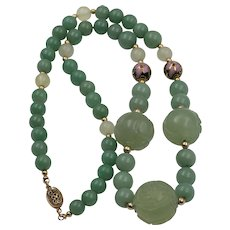 60%OFF! Gilt Silver | Chrysoprase & Jade Bead Necklace with Cloisonné Beads - Red Tag Sale Item