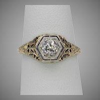 Beautiful! Art Deco 15K YG  .40 Carat European Cut Diamond Filigree Ring Size 5-1/2