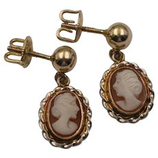 ON SALE ! 14K Yellow Gold | Carved Shell Cameo Earrings with Thread Backs