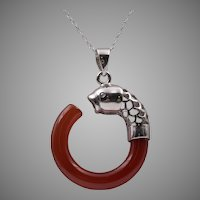 Sterling Silver Filigree Carnelian Fish Pendant with 18-Inch Chain
