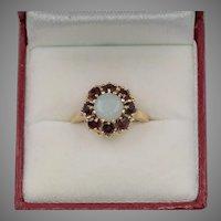 Lovely Vintage 14K YG Opal & Garnet Ring Size 5