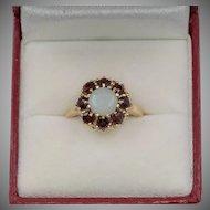 Vintage | 14K YG | Opal & Garnet Ring