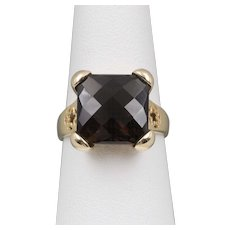 Vintage | 14K YG | Checkerboard Cut | Smoky Quartz Ring | Size 7