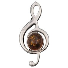 Sterling Silver | Amber | Treble Clef Brooch/Pin