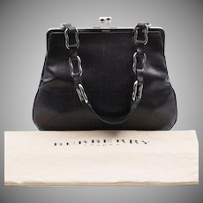 On Sale | Vintage | Burberry London | Black Leather Lizard-Embossed Handbag