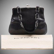 On Sale | Vintage | Burberry London | Black Leather Lizard-Embossed Handbag