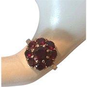 REDUCED | 9CT/K YG | Garnet Cluster Ring |  Size 5-1/2