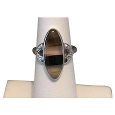 Vintage Sterling Silver Banded Agate Navette Ring
