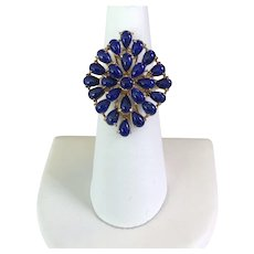 Gorgeous 14K YG 1950s Lapis Lazuli Ring Size 6-1/2