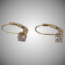 14K YG | .40 CTW | Diamond Lever Back Earrings