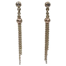 14K Tricolor Gold  Long Tassel Earrings 1-7/8 Inches