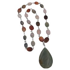Beautiful   Multi-Stone Pendant Necklace 27-Total Inches