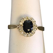 14K YG | Sapphire and Diamond Ring Size 7-1/4