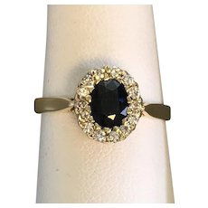 14K YG | Sapphire and Diamond Ring Size 7-1/4