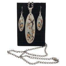 EBINA | Demi Parure | Hand Painted Porcelain Pendant & Earrings
